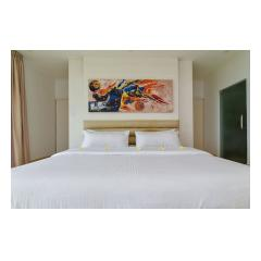 Bed With Painting - Palm Living Bali Long Term Villa Rentals